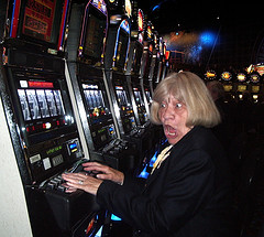 A picture of Joy and slot machine