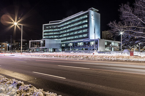 Hamilton City Hall in the winter