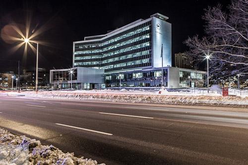 Hamilton City Hall in the winter
